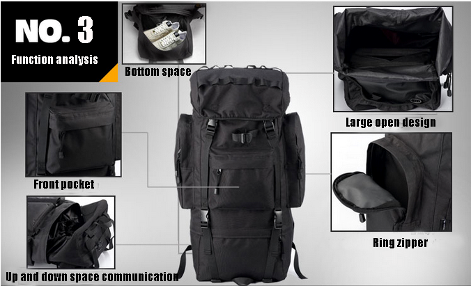 65L Outdoor Tactical Gear Backpack Shoulders Waterproof With Polyester