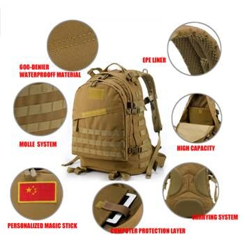 45L Small Tactical Day Pack Army Camouflage Backpack With 1000D