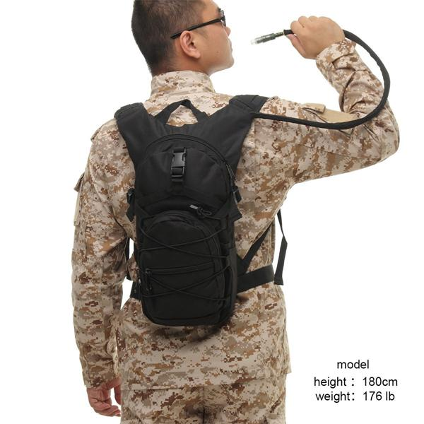 Black Runner Tactical Hydration Pack Molle Waterproof With 3.0 L