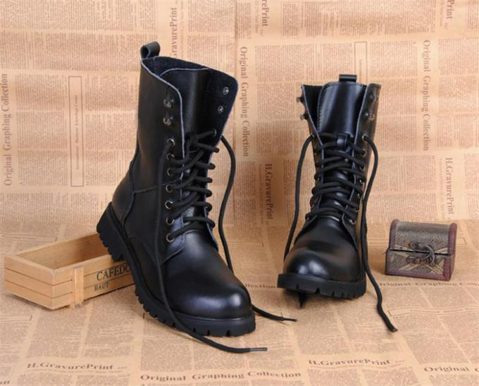 Flat Low Heel Military Jungle Boots , Round Toe Leather Motorcycle Boots