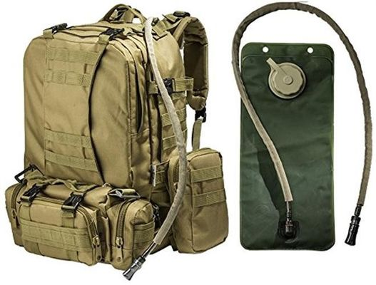 2.5L Tactical Hydration Backpack Hydration Water Bladder With 3 Molle Bags