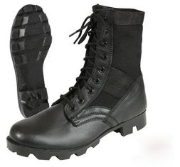 China Leather Black Military Jungle Boots Canvas Nylon Upper For Camping supplier