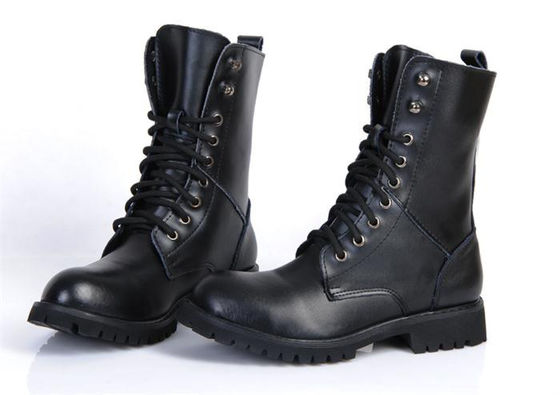 China Flat Low Heel Military Jungle Boots , Round Toe Leather Motorcycle Boots supplier