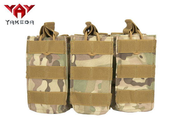 Military Molle Gear Accessories Compatible Open Top Triple Mag Pouch For M4 M17 AK47 Magazine