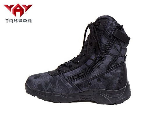 Strap Army Rubber Non - Slip Military Tactical Boots With Side Zipper Black Color